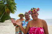 Portrait of Polynesian Pacific Island Tahitian mature women — Stock Photo