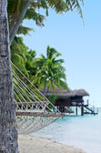 Reef Bungalows over Tropical Coral Reef — Stock Photo