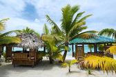 Beach bungalows on tropical pacific ocean Island — Stock Photo