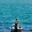 Fishing boat with fisherman — Stock Photo