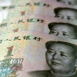 Chinese money and currency - Renminbi, one Yuan bills — Stock Photo