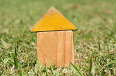 Old houses on green grass — Stock Photo