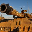 Israeli soldier on Merkava tank — Stock Photo
