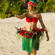Young Polynesian Pacific Island Tahitian Woman Dancer — Stock Photo