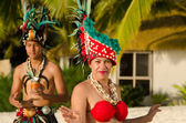 Young Polynesian Pacific Island Tahitian Dancers Couple — Stock Photo