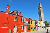 Burano ostrov v benátské laguně, itálie在威尼斯的泻湖,意大利的布拉诺岛 — 图库照片