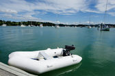 Rubber inflatable dinghy boat — Stockfoto