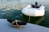 Rubber inflatable dinghy boat — Stock Photo