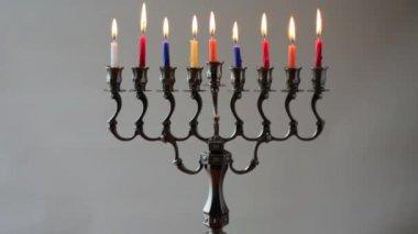 Hanukkah menorah — Stock Video