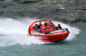 High speed jet boat ride - Queenstown NZ — Stok fotoğraf
