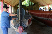 Visitors at the Whare Waka — Stock Photo