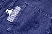 Pieniądze w tylnej kieszeni dżinsów — Zdjęcie stockowe