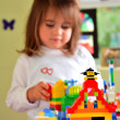 Child play with Lego construction toy — Stock Photo