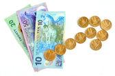 NZ Dollar banknotes with upward trend arrow — Stock Photo