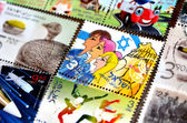 Collection of israeli stamps — Stock Photo