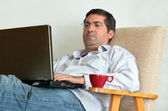 Man Working or learning from home — Stock Photo