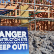Danger building site sign — Stock Photo
