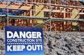 Niebezpieczeństwo budowania witryny znak — Zdjęcie stockowe