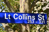 Lt Collins Street Sign - Melbourne — Stock Photo