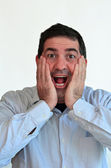 Man surprised face expression — Stock Photo