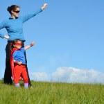 Superhero mother and child — Stock Photo #50328837
