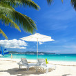 Relax area on beach - Stock Photo