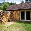 Dry firewoods well groomed in yard near a house — Stock Photo #13558484