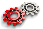 Closeup of two gray and red gear bearings — Stock Photo