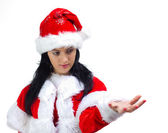 Santa Claus woman advertising with open hand — Stock Photo