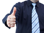 Business man holding thumb up — Stock Photo