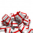 图库照片: Falling white gift boxes with red ribbon