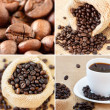 Coffee collage made with four unique images — Stock Photo