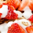 Combination of strawberry cereals and yogurt — Stock Photo