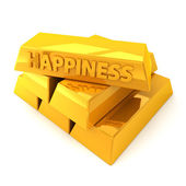 Stack of gold bars illustrating happiness — Stock Photo