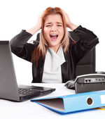 Business woman having issues at work — Stock Photo