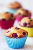 Group of tasty muffins placed on table — Stock Photo