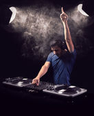 Deejay mixing at party — Stock Photo