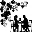 Background with grapes and romantic couple in restaurant toast with glass of wine silhouette layered — Stock Vector #12042437