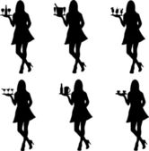 Beautiful sexy waitress standing and holding a round tray with different drinks silhouette — Stock Vector