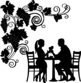 Background with grapes and romantic couple in restaurant toast with glass of wine silhouette layered — Stock Vector