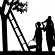 Family picking apples from an apple tree silhouette — Stock Vector