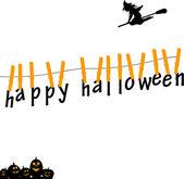 Tarjetas de halloween feliz pendiendo de una cuerda con pinzas para la ropa — Vector de stock