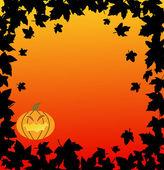 Halloween-hintergrund mit kürbis und blätter — Stockvektor