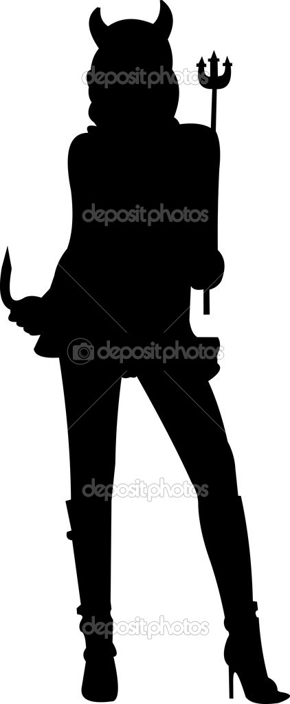Halloween costume devil silhouette — Stock Vector #12585093