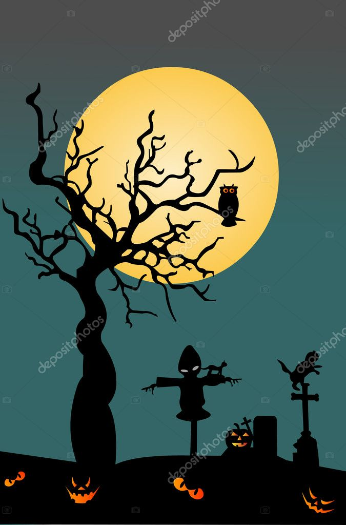 Halloween night scene background — Stock Vector #12619817