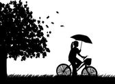 Young woman ride bike in the rain under umbrella in park in autumn or fall silhouette — Stock Vector
