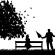 A young man with an umbrella, standing near a street lamp and woo the girl on bench in autumn or fall silhouette — 图库矢量图片