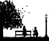 A young man with rose, kneel near a street lamp and woo the girl on the bench in autumn or fall silhouette — Stock Vector