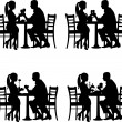 Background with romantic couple in restaurant in different situation silhouette - Imagen vectorial