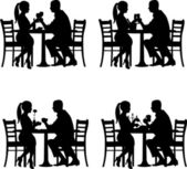 Background with romantic couple in restaurant in different situation silhouette — Stockvector